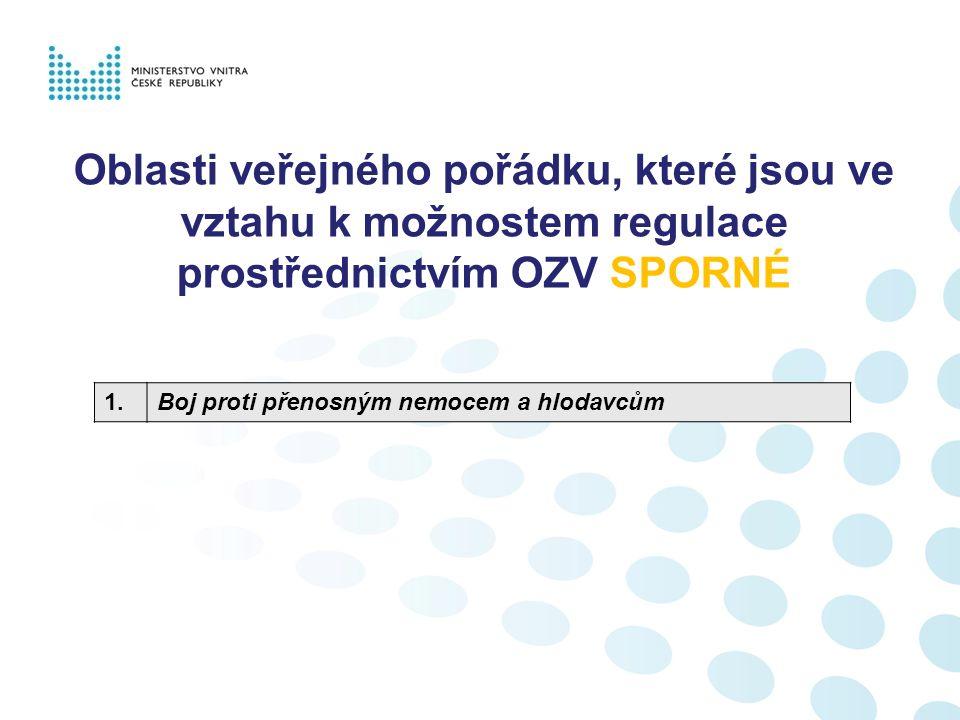 Oblasti veřejného pořádku, které NELZE regulovat prostřednictvím OZV 1.Kouření na veřejných prostranstvích obecně 2.