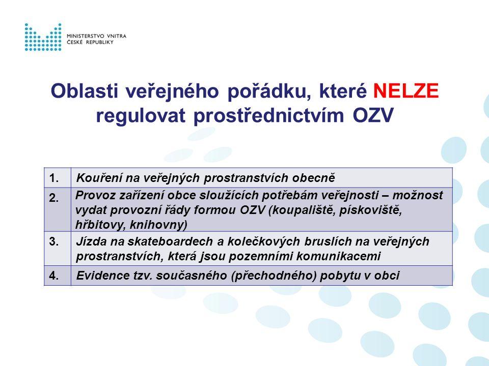 Oblasti veřejného pořádku, které LZE regulovat prostřednictvím OZV 1.Konzumace alkoholu na veřejných prostranstvích 2.Používání zábavní pyrotechniky na veřejných prostranstvích 3.Hluk (hlučné činnosti) a rušení nočního klidu 4.Podmínky pro pořádání veřejnosti přístupných akcí 5.Znečištění ulic a jiných veřejných prostranství 6.Rozdělávání a udržování otevřených ohňů 7.Ochrana a údržba veřejné zeleně (sekání, úklid) 8.Chov zvířat; Pravidla pro pohyb psů a jiných zvířat; Zákaz vstupu se zvířaty 9.Žebrání