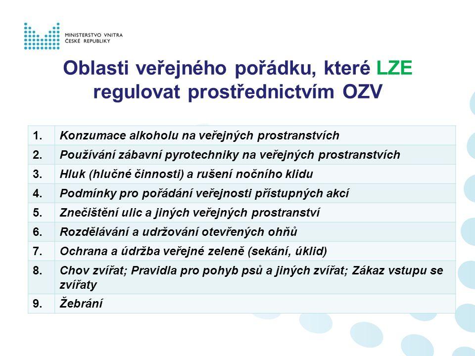 Oblasti veřejného pořádku, které LZE regulovat prostřednictvím OZV 10.Prostituce 11Výherní hrací přístroje a jiné podobné loterie 12.Jízda na skateboardech a kolečkových bruslích na veřejných prostranstvích, která nejsou pozemními komunikacemi 13.Provoz zařízení obce sloužících potřebám veřejnosti (stanovení povinností ve vztahu k veřejnému pořádku) 14.Nepovolené vylepování plakátů 15.Malování po zdech (graffiti) 16.Provozní doba pohostinských zařízení 17.Kouření na vybraných veřejně přístupných místech určených nebo vyhrazených osobám mladším 18 let