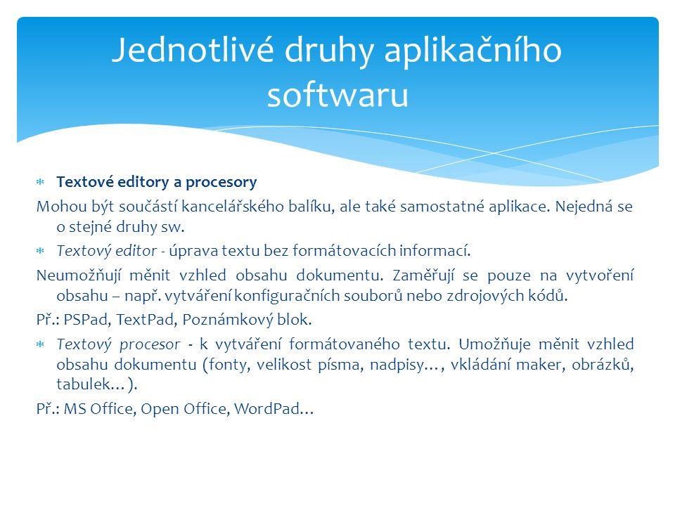  Textové editory a procesory Mohou být součástí kancelářského balíku, ale také samostatné aplikace.