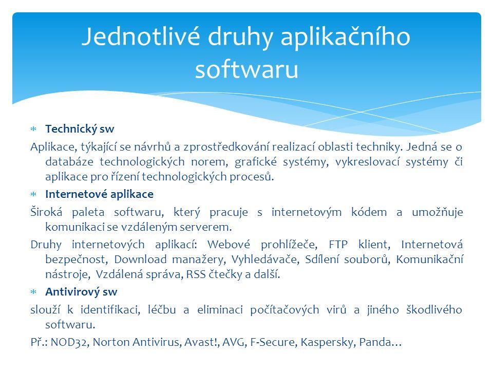  Technický sw Aplikace, týkající se návrhů a zprostředkování realizací oblasti techniky.