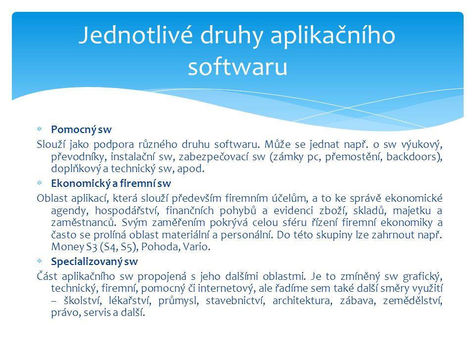  Pomocný sw Slouží jako podpora různého druhu softwaru.