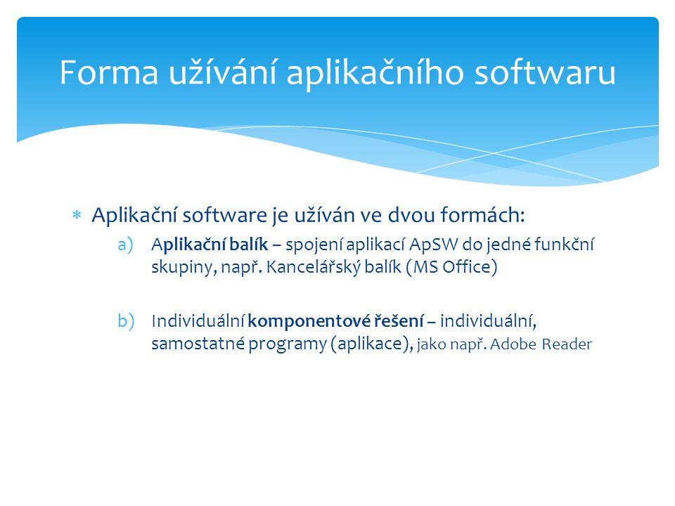  Aplikační software je užíván ve dvou formách: a)Aplikační balík – spojení aplikací ApSW do jedné funkční skupiny, např.