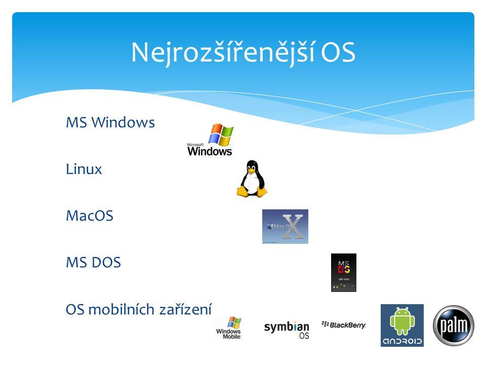 MS Windows Linux MacOS MS DOS OS mobilních zařízení Nejrozšířenější OS