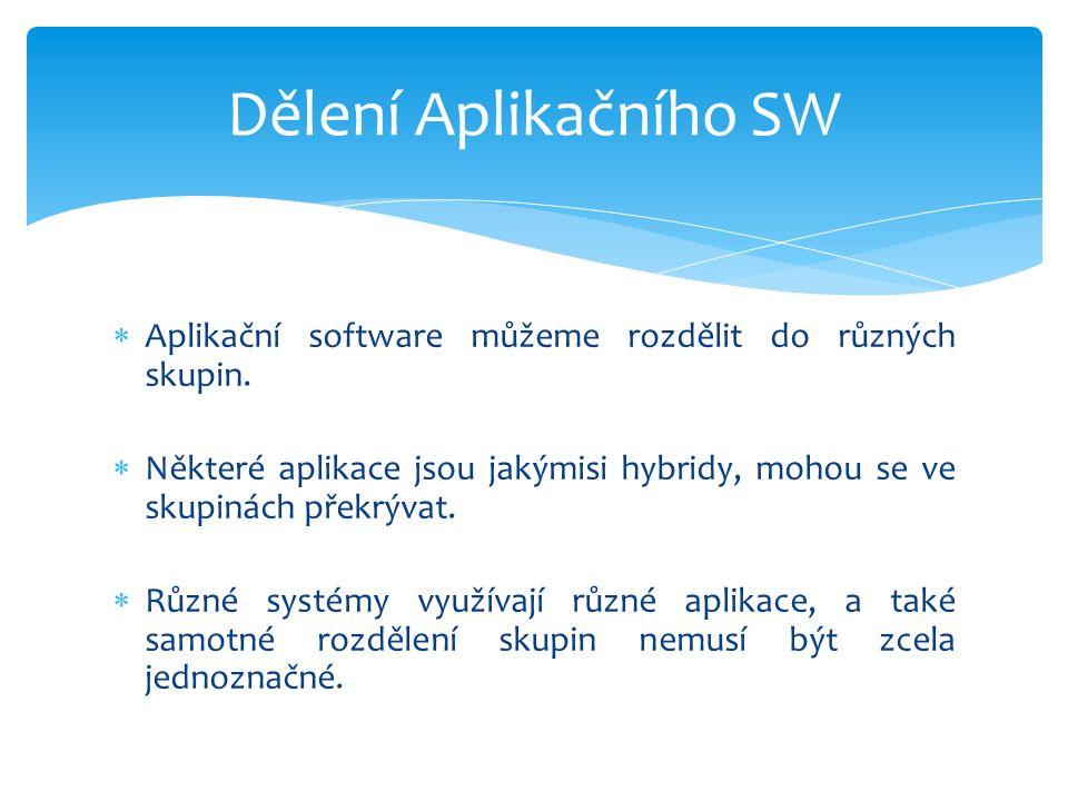 Aplikační software můžeme rozdělit do různých skupin.