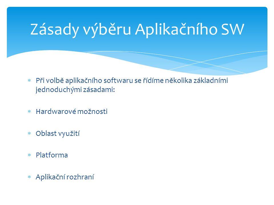  Při volbě aplikačního softwaru se řídíme několika základními jednoduchými zásadami:  Hardwarové možnosti  Oblast využití  Platforma  Aplikační rozhraní Zásady výběru Aplikačního SW