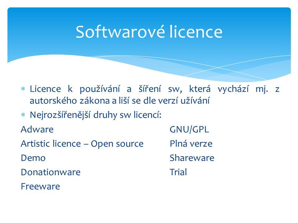  Licence k používání a šíření sw, která vychází mj.