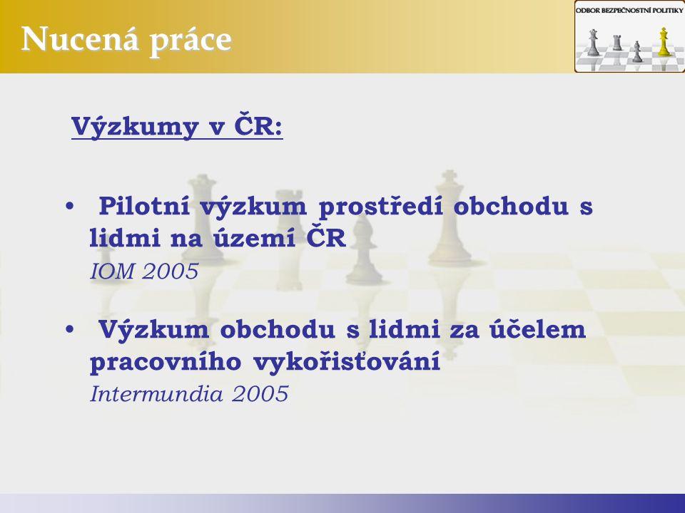 Nucená práce Výzkumy v ČR: Pilotní výzkum prostředí obchodu s lidmi na území ČR IOM 2005 Výzkum obchodu s lidmi za účelem pracovního vykořisťování Intermundia 2005