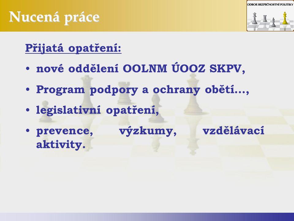 Nucená práce Přijatá opatření: nové oddělení OOLNM ÚOOZ SKPV, Program podpory a ochrany obětí…, legislativní opatření, prevence, výzkumy, vzdělávací aktivity.