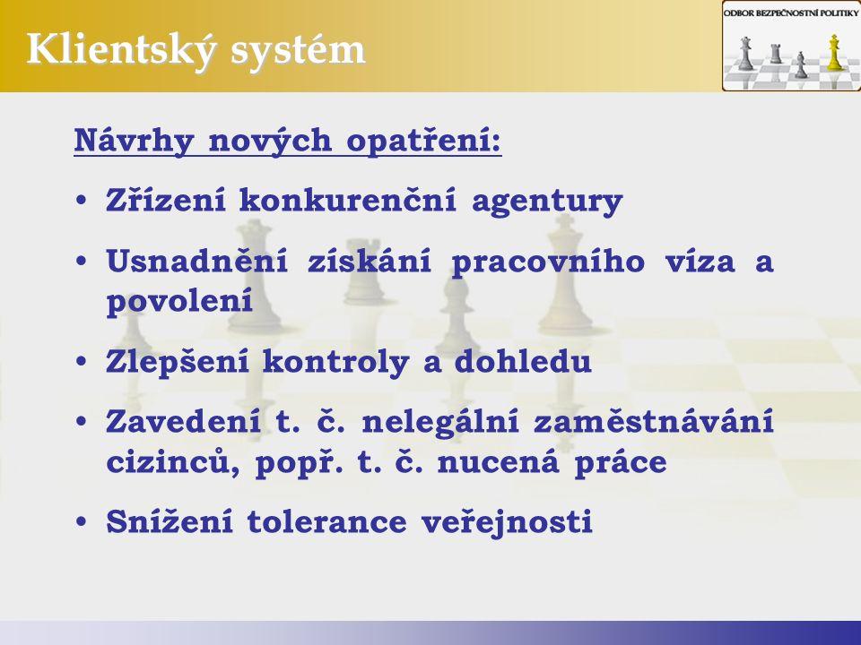 Klientský systém Návrhy nových opatření: Zřízení konkurenční agentury Usnadnění získání pracovního víza a povolení Zlepšení kontroly a dohledu Zavedení t.