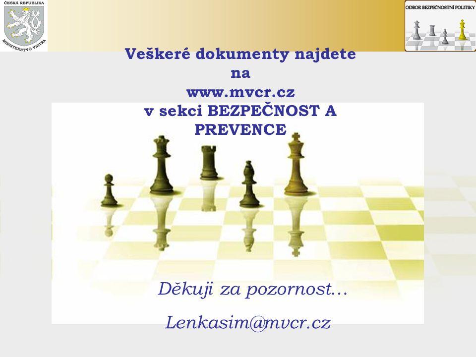 Děkuji za pozornost … Lenkasim@mvcr.cz Veškeré dokumenty najdete na www.mvcr.cz v sekci BEZPEČNOST A PREVENCE