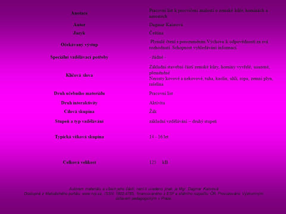 Anotace Pracovní list k procvičení znalostí o zemské kůře, horninách a nerostech AutorDagmar Kaisrová JazykČeština Očekávaný výstup Plynulé čtení s porozuměním.Výchova k odpovědnosti za svá rozhodnutí.Schopnost vyhledávání informací.