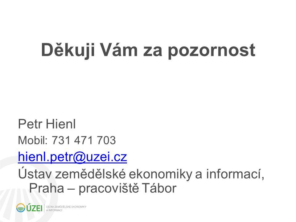 Děkuji Vám za pozornost Petr Hienl Mobil: 731 471 703 hienl.petr@uzei.cz Ústav zemědělské ekonomiky a informací, Praha – pracoviště Tábor