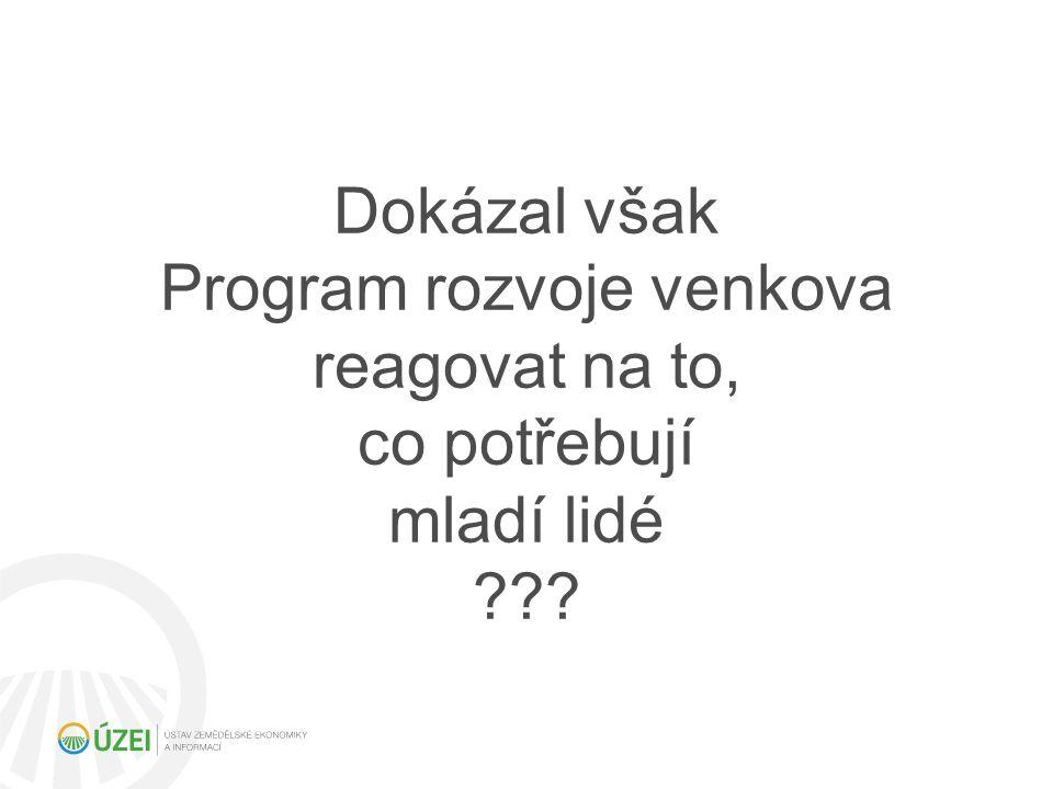 Dokázal však Program rozvoje venkova reagovat na to, co potřebují mladí lidé ???