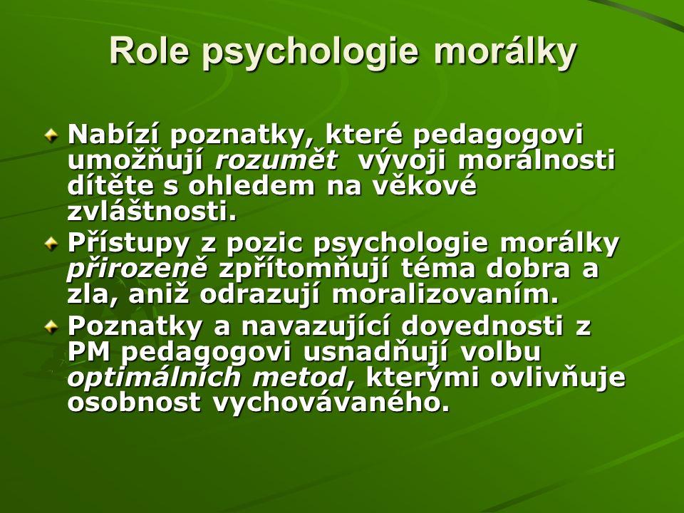 Role psychologie morálky Nabízí poznatky, které pedagogovi umožňují rozumět vývoji morálnosti dítěte s ohledem na věkové zvláštnosti.