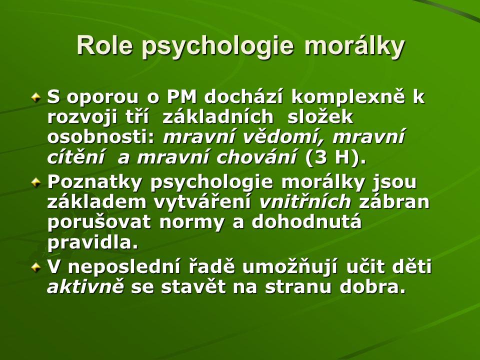 Role psychologie morálky S oporou o PM dochází komplexně k rozvoji tří základních složek osobnosti: mravní vědomí, mravní cítění a mravní chování (3 H).