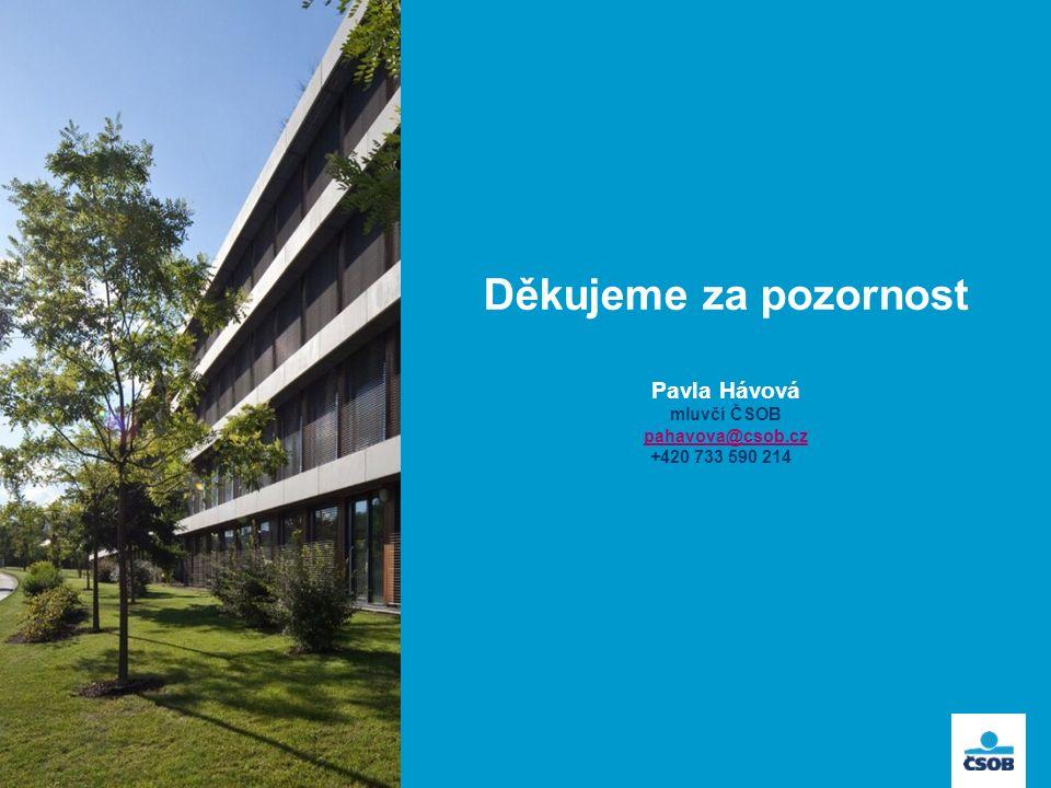 Děkujeme za pozornost Pavla Hávová mluvčí ČSOB pahavova@csob.cz +420 733 590 214 pahavova@csob.cz