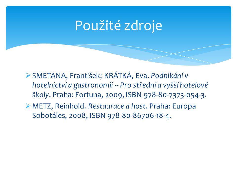 SMETANA, František; KRÁTKÁ, Eva. Podnikání v hotelnictví a gastronomii -- Pro střední a vyšší hotelové školy. Praha: Fortuna, 2009, ISBN 978-80-7373