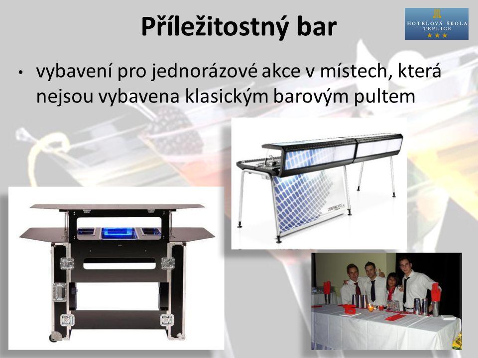 Příležitostný bar vybavení pro jednorázové akce v místech, která nejsou vybavena klasickým barovým pultem