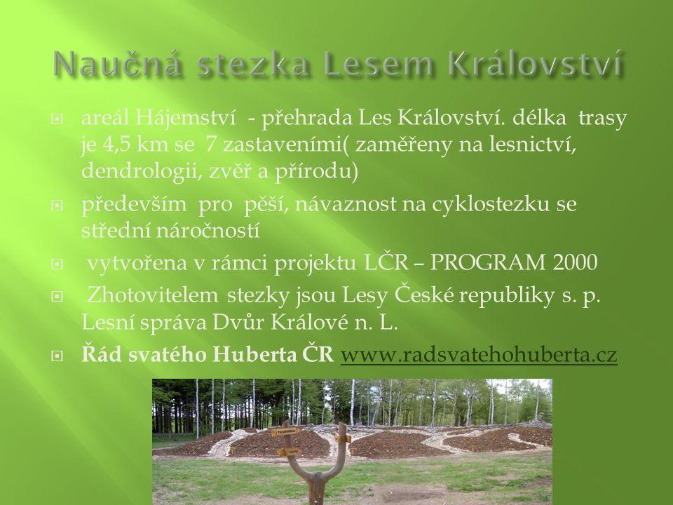  areál Hájemství - přehrada Les Království. délka trasy je 4,5 km se 7 zastaveními( zaměřeny na lesnictví, dendrologii, zvěř a přírodu)  především p