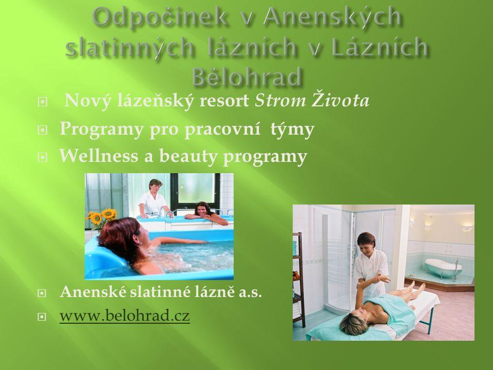  Nový lázeňský resort Strom Života  Programy pro pracovní týmy  Wellness a beauty programy  Anenské slatinné lázně a.s.  www.belohrad.cz www.belo