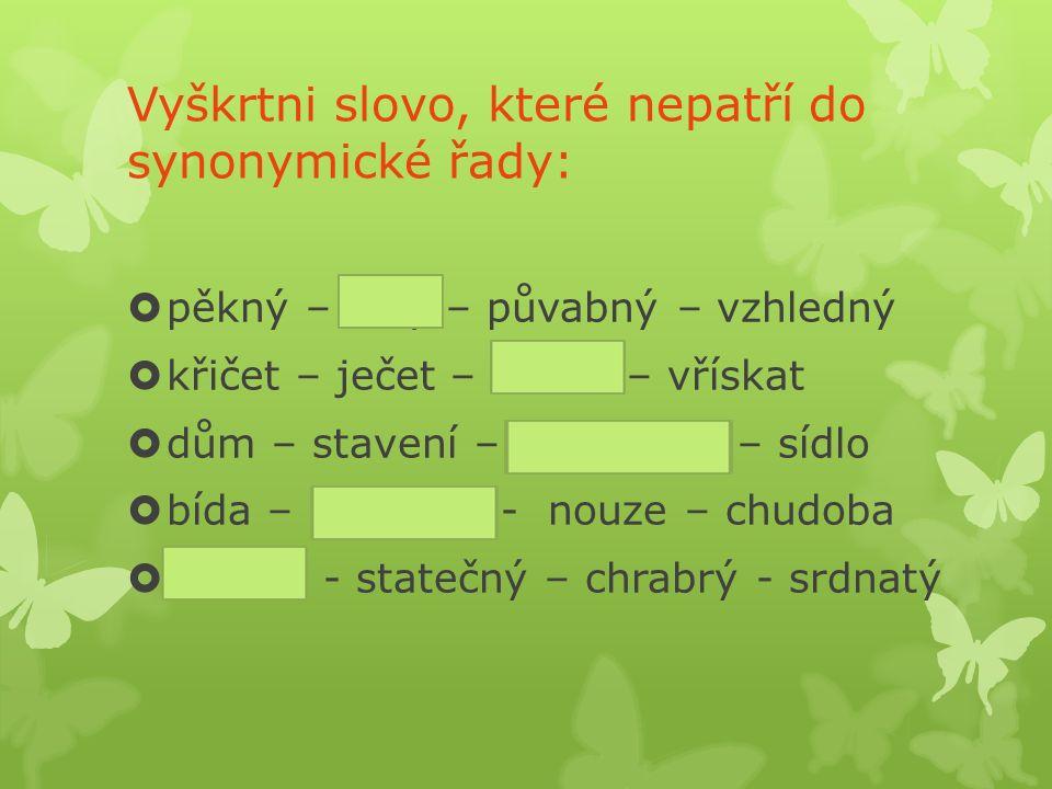 SYNONYMA  úplná  částečná -mají stejný význam -cizí x české slovo -gramatika x mluvnice, elastický x pružný - mají pouze podobný význam - liší se významovým odstínem, nelze je ve všech případech zaměnit - drahý x cenný, dobrý x chutný