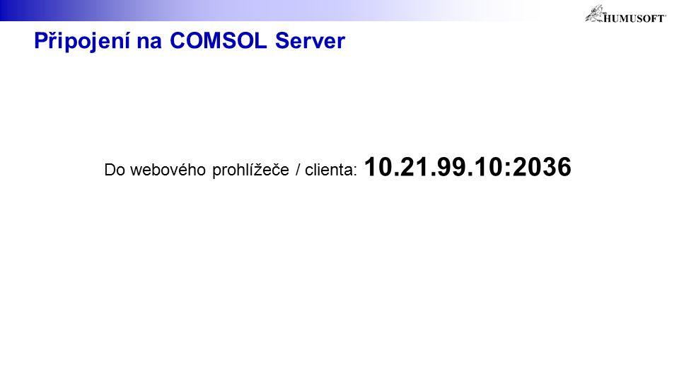 Připojení na COMSOL Server Do webového prohlížeče / clienta: 10.21.99.10:2036
