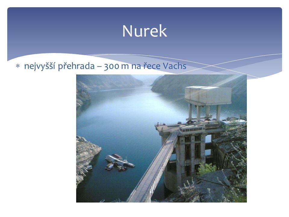 Nurek  nejvyšší přehrada – 300 m na řece Vachs
