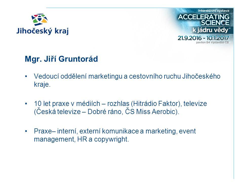 Mgr. Jiří Gruntorád Vedoucí oddělení marketingu a cestovního ruchu Jihočeského kraje.