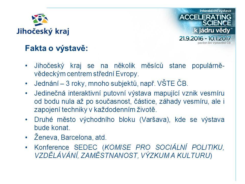 Fakta o výstavě: Jihočeský kraj se na několik měsíců stane populárně- vědeckým centrem střední Evropy.