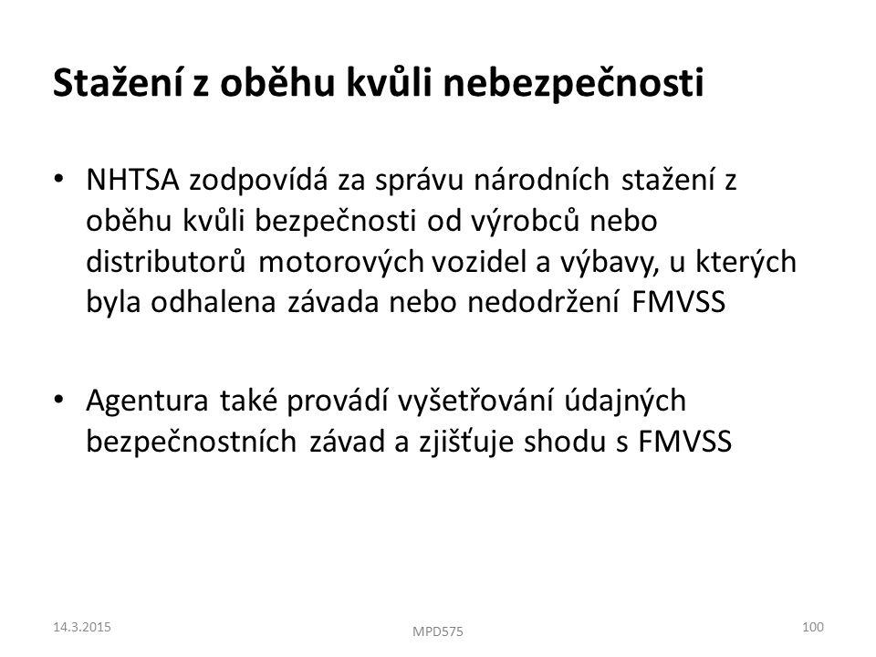 Stažení z oběhu kvůli nebezpečnosti NHTSA zodpovídá za správu národních stažení z oběhu kvůli bezpečnosti od výrobců nebo distributorů motorových vozidel a výbavy, u kterých byla odhalena závada nebo nedodržení FMVSS Agentura také provádí vyšetřování údajných bezpečnostních závad a zjišťuje shodu s FMVSS 14.3.2015100 MPD575