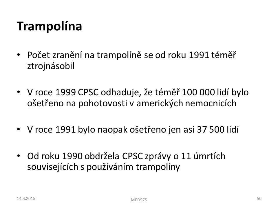 Trampolína Počet zranění na trampolíně se od roku 1991 téměř ztrojnásobil V roce 1999 CPSC odhaduje, že téměř 100 000 lidí bylo ošetřeno na pohotovosti v amerických nemocnicích V roce 1991 bylo naopak ošetřeno jen asi 37 500 lidí Od roku 1990 obdržela CPSC zprávy o 11 úmrtích souvisejících s používáním trampolíny 14.3.201550 MPD575