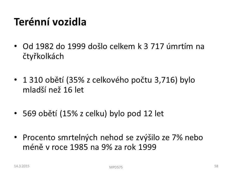 Terénní vozidla Od 1982 do 1999 došlo celkem k 3 717 úmrtím na čtyřkolkách 1 310 obětí (35% z celkového počtu 3,716) bylo mladší než 16 let 569 obětí (15% z celku) bylo pod 12 let Procento smrtelných nehod se zvýšilo ze 7% nebo méně v roce 1985 na 9% za rok 1999 14.3.201558 MPD575