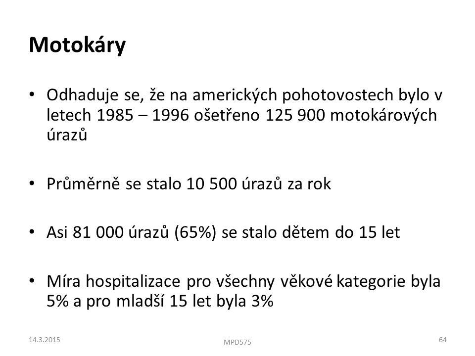 Motokáry Odhaduje se, že na amerických pohotovostech bylo v letech 1985 – 1996 ošetřeno 125 900 motokárových úrazů Průměrně se stalo 10 500 úrazů za rok Asi 81 000 úrazů (65%) se stalo dětem do 15 let Míra hospitalizace pro všechny věkové kategorie byla 5% a pro mladší 15 let byla 3% 14.3.201564 MPD575