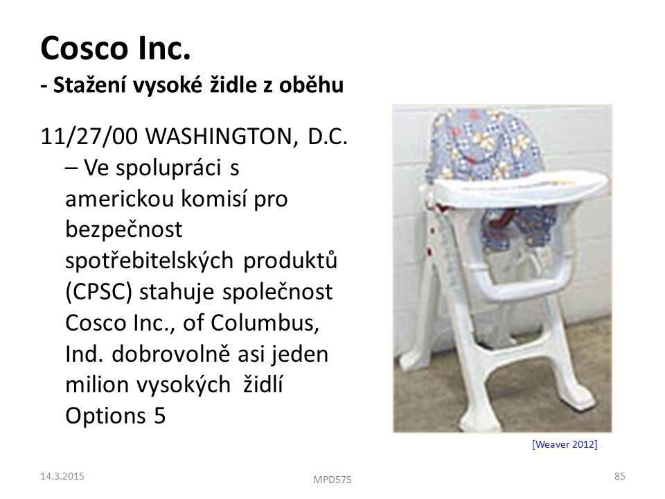 Cosco Inc. - Stažení vysoké židle z oběhu 11/27/00 WASHINGTON, D.C.