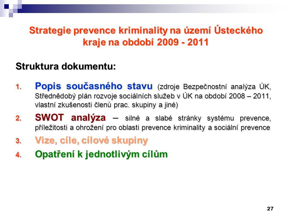 27 Strategie prevence kriminality na území Ústeckého kraje na období 2009 - 2011 Struktura dokumentu: 1.