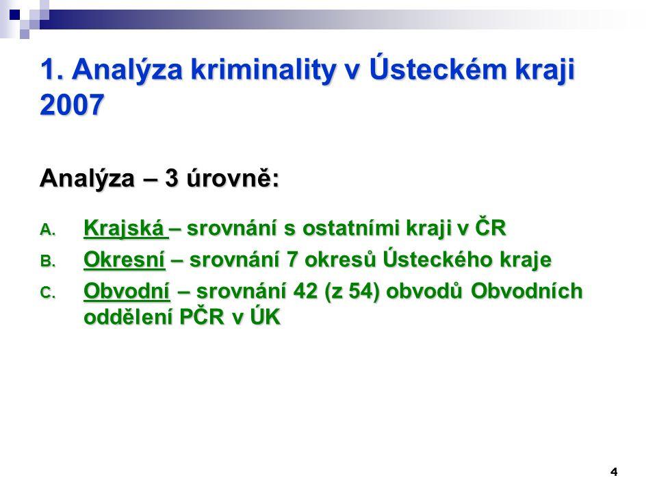 4 1. Analýza kriminality v Ústeckém kraji 2007 Analýza – 3 úrovně: A.