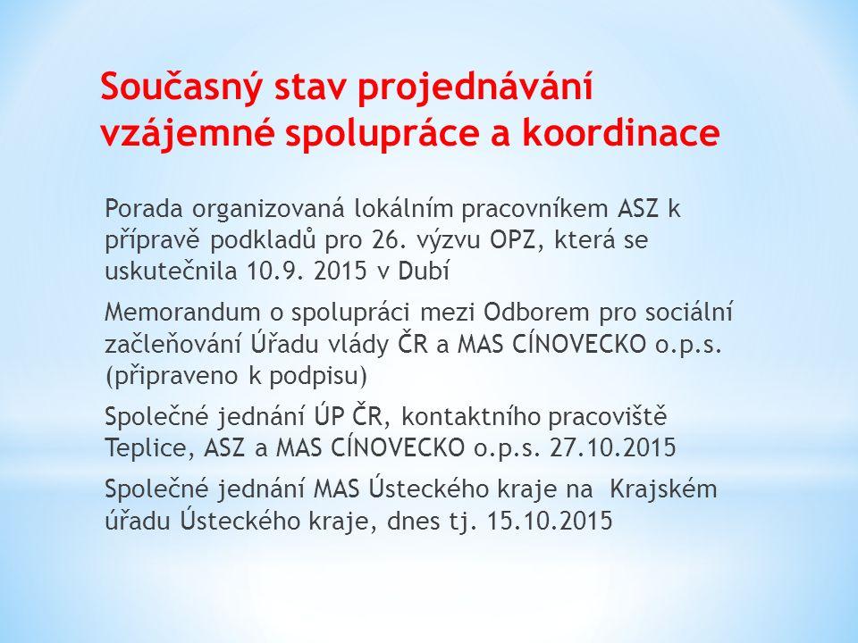 Současný stav projednávání vzájemné spolupráce a koordinace Porada organizovaná lokálním pracovníkem ASZ k přípravě podkladů pro 26.