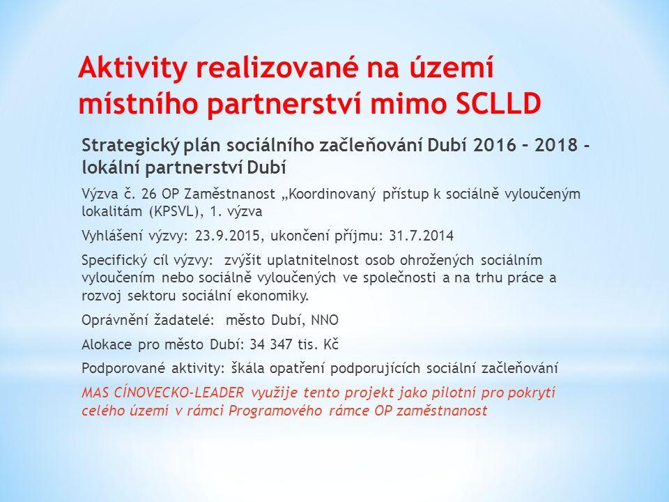 Aktivity realizované na území místního partnerství mimo SCLLD Strategický plán sociálního začleňování Dubí 2016 – 2018 - lokální partnerství Dubí Výzva č.
