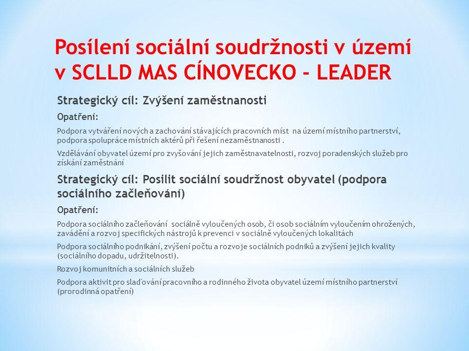 Posílení sociální soudržnosti v území v SCLLD MAS CÍNOVECKO - LEADER Strategický cíl: Zvýšení zaměstnanosti Opatření: Podpora vytváření nových a zachování stávajících pracovních míst na území místního partnerství, podpora spolupráce místních aktérů při řešení nezaměstnanosti.