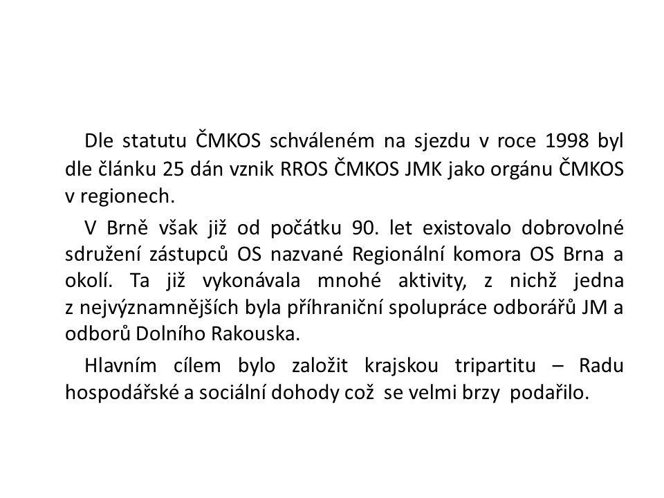 Dle statutu ČMKOS schváleném na sjezdu v roce 1998 byl dle článku 25 dán vznik RROS ČMKOS JMK jako orgánu ČMKOS v regionech.