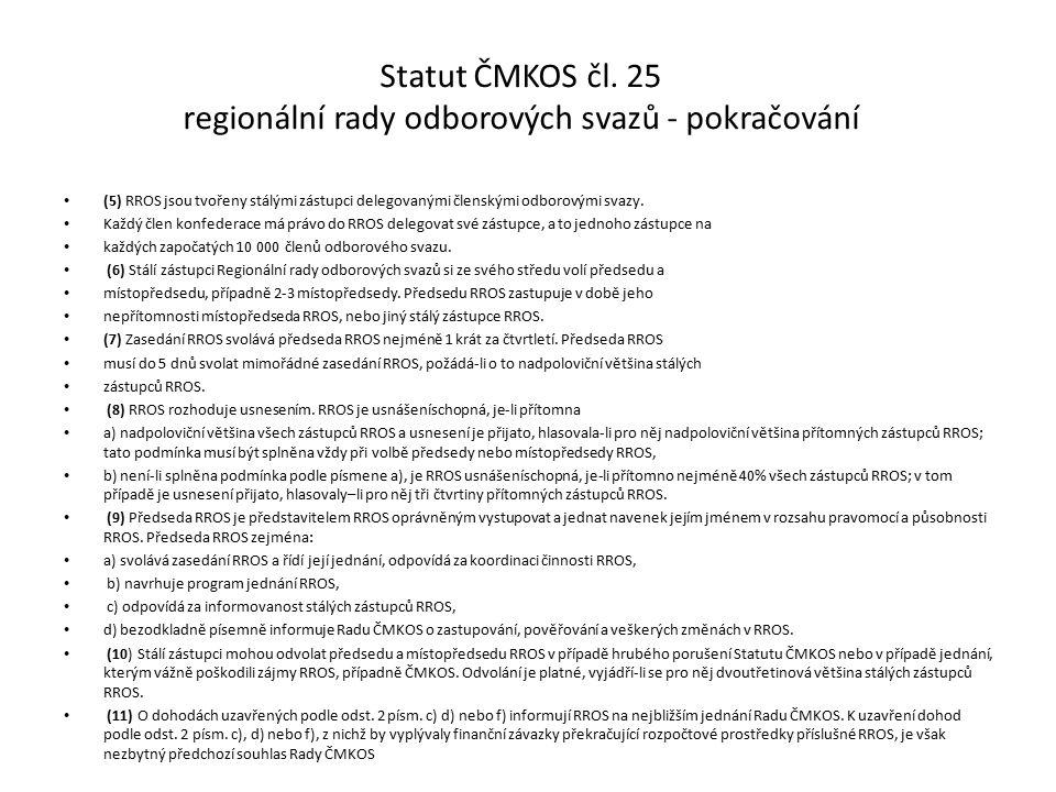 Statut ČMKOS čl.