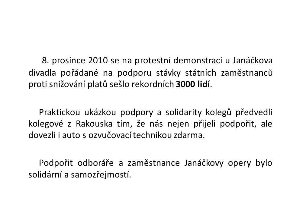 8. prosince 2010 se na protestní demonstraci u Janáčkova divadla pořádané na podporu stávky státních zaměstnanců proti snižování platů sešlo rekordníc