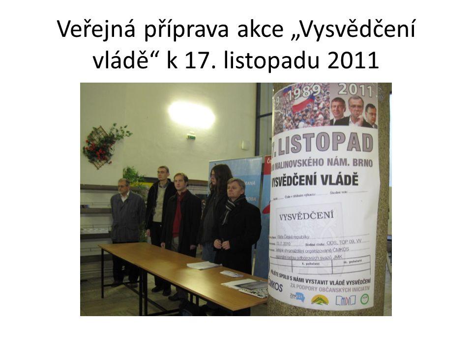"""Veřejná příprava akce """"Vysvědčení vládě k 17. listopadu 2011"""
