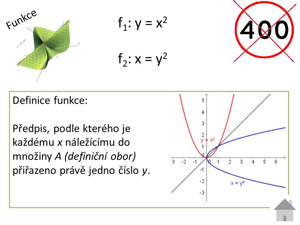 Funkce f 1 : y = x 2 f 2 : x = y 2 Definice funkce: Předpis, podle kterého je každému x náležícímu do množiny A (definiční obor) přiřazeno právě jedno číslo y.