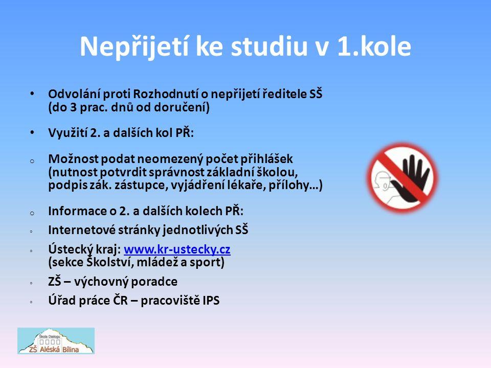 Nepřijetí ke studiu v 1.kole Odvolání proti Rozhodnutí o nepřijetí ředitele SŠ (do 3 prac.