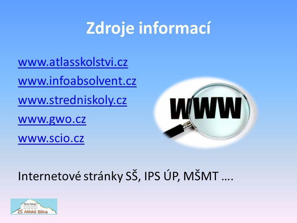 Zdroje informací www.atlasskolstvi.cz www.infoabsolvent.cz www.stredniskoly.cz www.gwo.cz www.scio.cz Internetové stránky SŠ, IPS ÚP, MŠMT ….