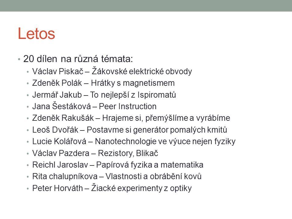 Letos Jiří Šamaj – Kurz přežití Kateřina Lipertová – Papírová geometrie Radim Kusák – Rakety, Algodoo, CanSat a další náměry z ESERO Pavel Konečný – Výlet do 19.