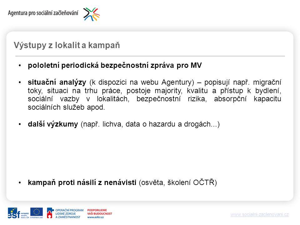 www.socialni-zaclenovani.cz Výstupy z lokalit a kampaň pololetní periodická bezpečnostní zpráva pro MV situační analýzy (k dispozici na webu Agentury) – popisují např.