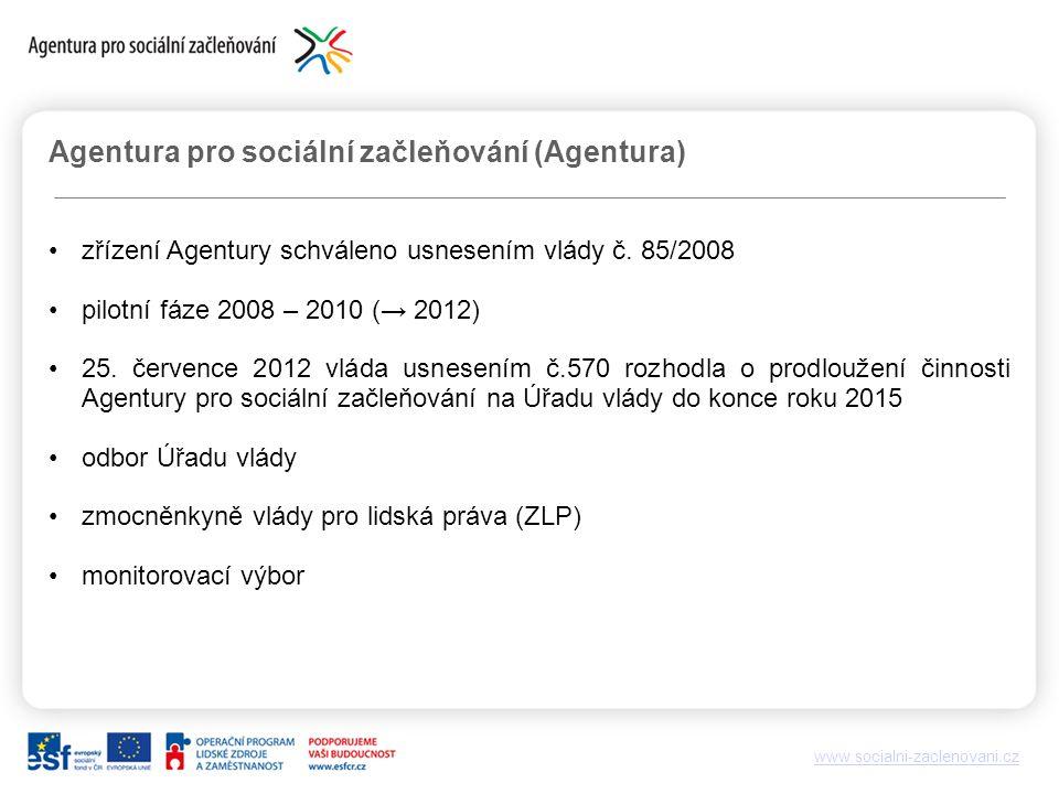 www.socialni-zaclenovani.cz Agentura pro sociální začleňování (Agentura) zřízení Agentury schváleno usnesením vlády č.
